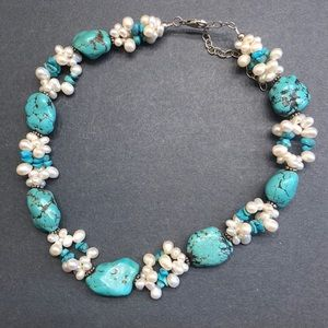 Turquoise and fresh water Pearl necklace